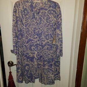 Linen pin tucked long tunic top 1X NWT